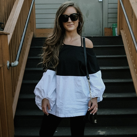 Chicwish Tops - Black and White Blouse